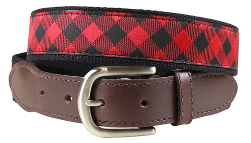 Buffalo Plaid Leather Tab Belt