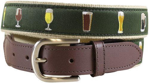 Ales & Lagers Leather Tab Belt