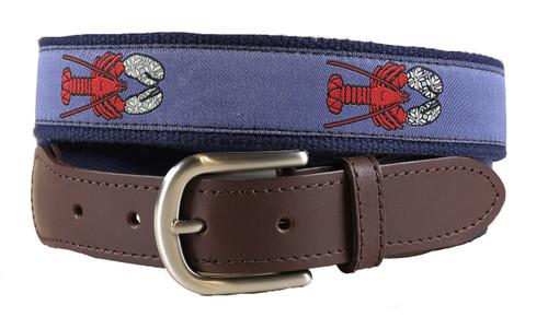 Lobster w/ Mittens Leather Tab Belt