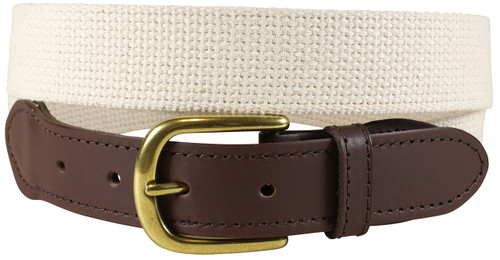 Cotton Web (natural) Leather Tab Belt