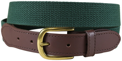 Cotton Web (hunter green) Leather Tab Belt