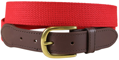 Cotton Web (red) Leather Tab Belt