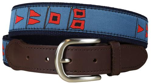 Hurricane Flags Leather Tab Belt