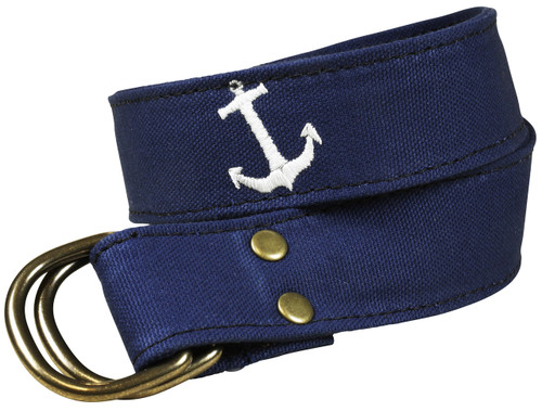 Anchor Embroidered Canvas D-ring Belt