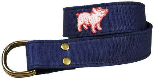 Pig Embroidered Canvas D-ring Belt