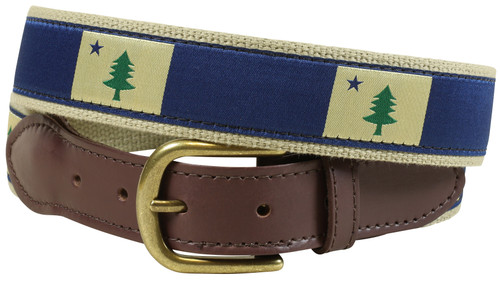 Maine State Flag Leather Tab Belt