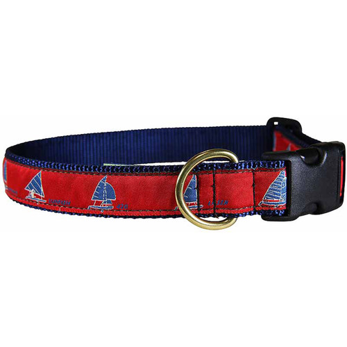 "Red One Design Sailboats 1"" Dog Collar"