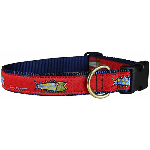 "Red Hopkins Fish 1"" Dog Collar"