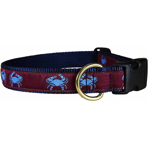 "Blue & Burgundy Belted Crab 1"" Dog Collar"