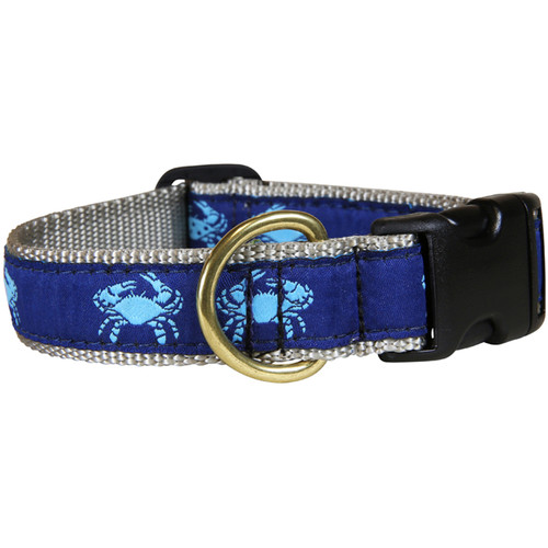 "Blue & Navy Belted Crab 1"" Dog Collar"