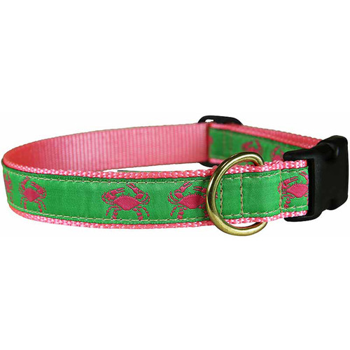"Pink & Green Belted Crab 1"" Dog Collar"