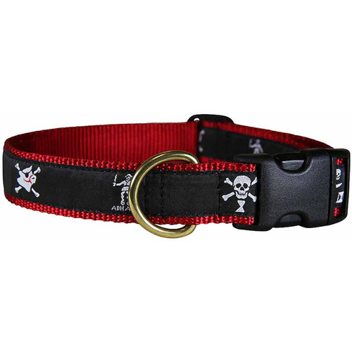 "Midnight Pirate Flags 1"" Dog Collar"