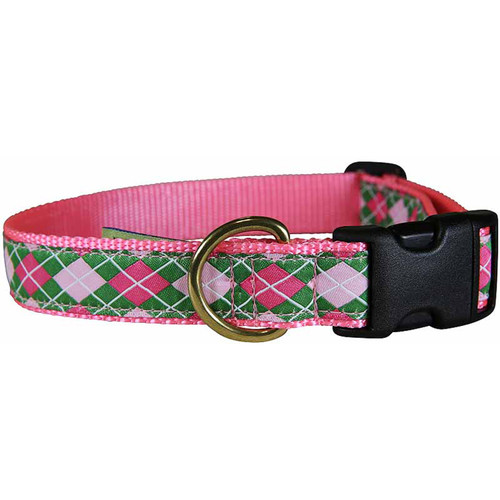 "Green & Pink Argyle  1"" Dog Collar"