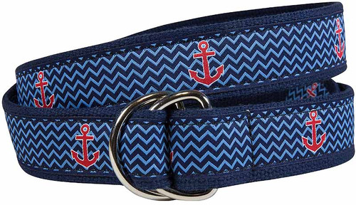 Ahoy Anchor D-Ring Belt - Navy