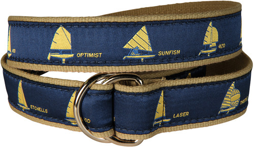 One Design Sailboats D-Ring Belt - Navy