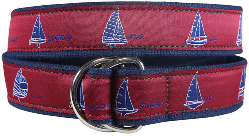 One Design Sailboats D-Ring Belt - Crimson