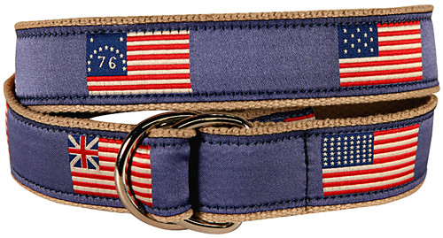 Historical American Flags D-Ring Belt