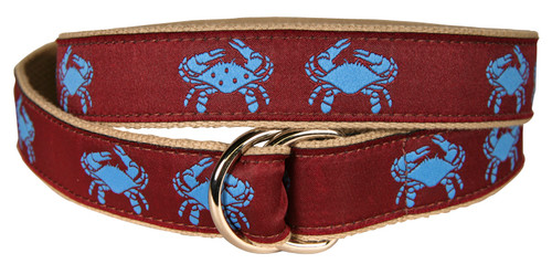 Crab D-Ring Belt - Blue & Burgundy