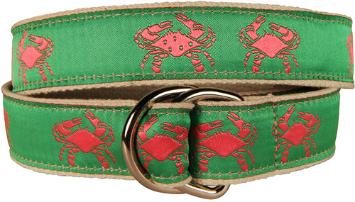Crab D-Ring Belt - Pink & Green