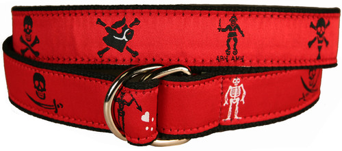 Pirate Flags  D-Ring Belt - Blood Red