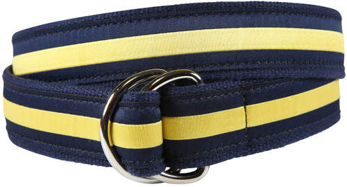 Classic Stripe D-Ring Belt - Yellow & Navy