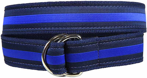 Classic Stripe D-Ring Belt - Blue & Navy