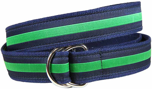 Classic Stripe D-Ring Belt - Green & Navy
