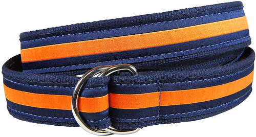 Classic Stripe D-Ring Belt - Orange & Navy