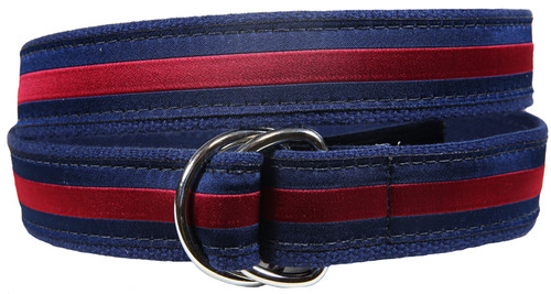 Classic Stripe D-Ring Belt - Burgundy & Navy