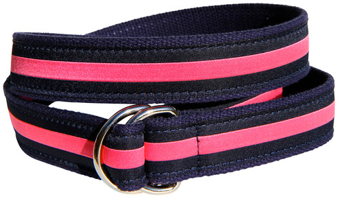 Classic Stripe D-Ring Belt - Pink & Navy