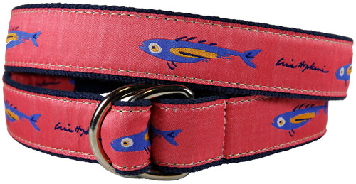 Hopkins Fish D-Ring Belt - Coral