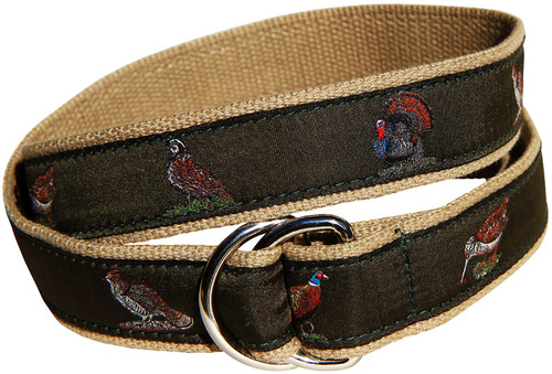 Woodland Birds D-Ring Belt | Loden