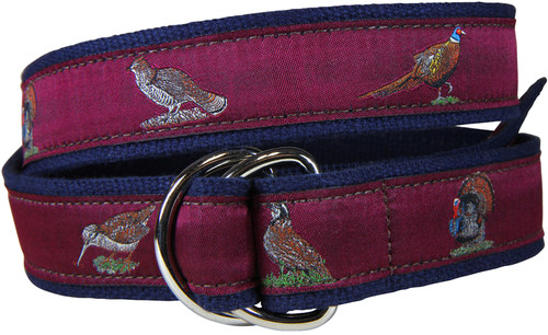 Woodland Birds D-Ring Belt - Burgundy
