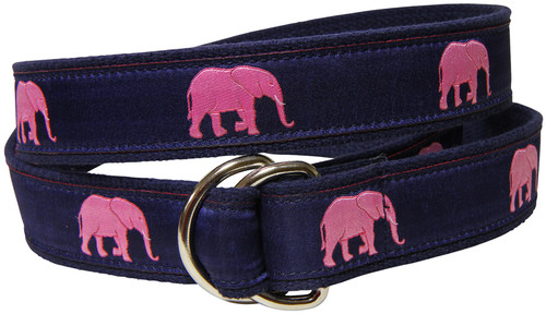 Elephants D-Ring Belt - Pink