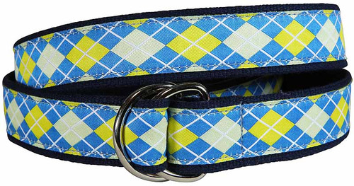 Argyle D-Ring Belt - Blue & Yellow