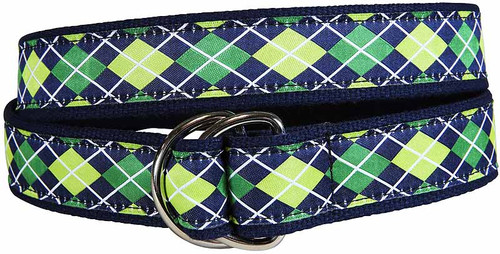 Argyle D-Ring Belt - Navy & Green