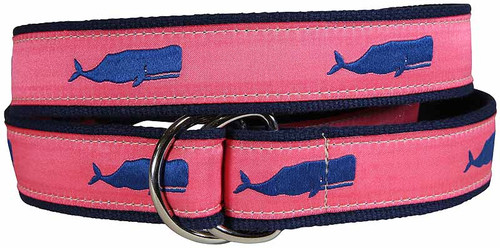 Moby Whale D-Ring Belt - Coral