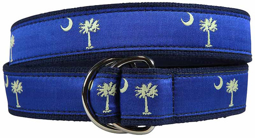 Palmetto Tree and Crescent Moon D-Ring Belt