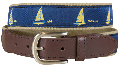 One Design Sailboats Leather Tab Belt - Navy