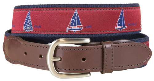 One Design Sailboats Leather Tab Belt - Crimson