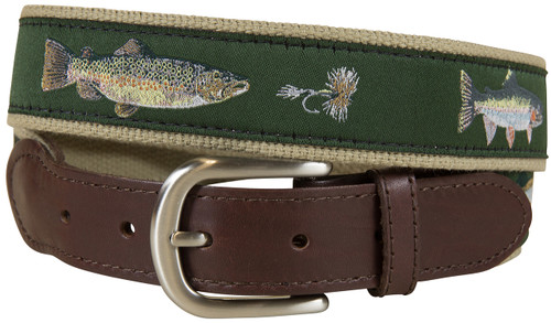 Freshwater Fish & Flies Leather Tab Belt