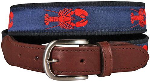Lobster Leather Tab Belt - Navy