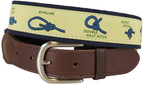 Nautical Knots Leather Tab Belt - Yellow