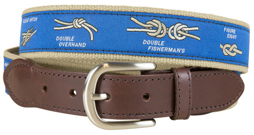 Nautical Knots Leather Tab Belt - Blue