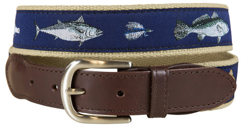 Saltwater Fish & Flies Leather Tab Belt