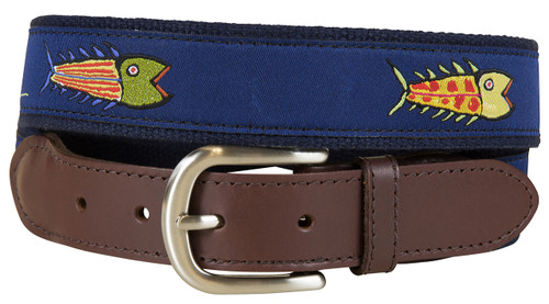 Hopkins Fish Leather Tab Belt | Blue