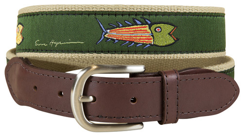 Hopkins Fish Leather Tab Belt | Olive