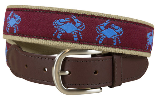 Burgundy Belted Crab Leather Tab Belt