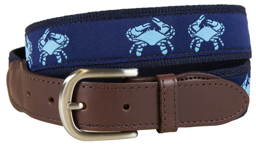 Navy Belted Crab Leather Tab Belt