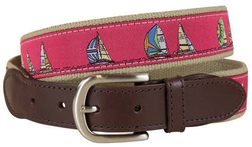 Rounding The Mark Leather Tab Belt - Cranberry
